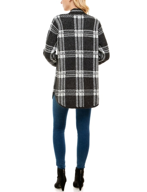 Adrienne Vittadini Sweater With Chest Pockets Shacket - Back