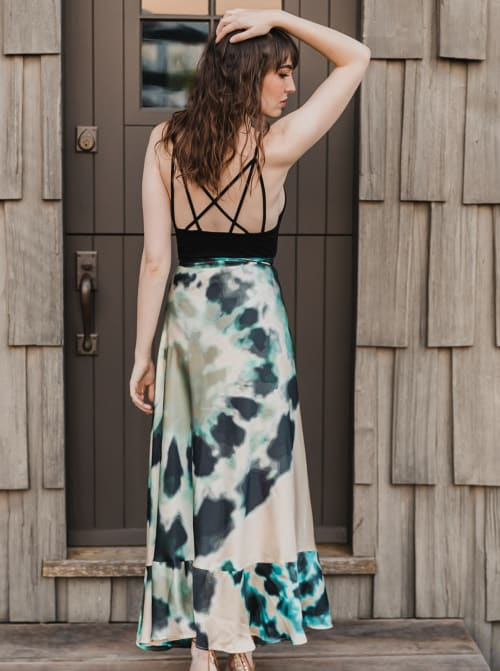 SukiSo Tie-Dye Goddess Maxi Sheer Wrap Skirt - Back
