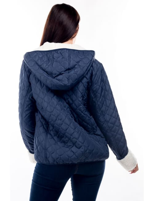 Quilted Hooded Jacket with Sherpa Lining - Back