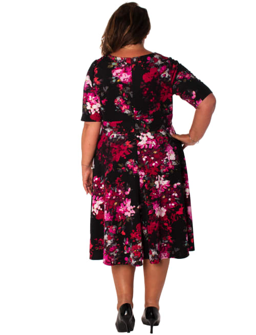 Floral Scuba V-Neck Dress - Plus - Back