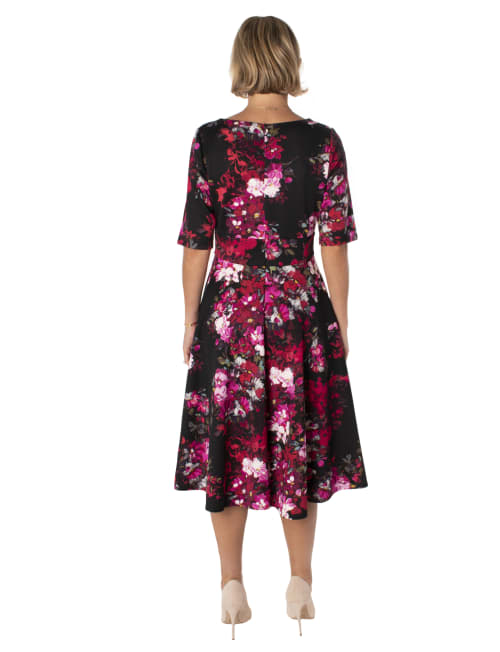 Floral Scuba V-Neck Dress - Back