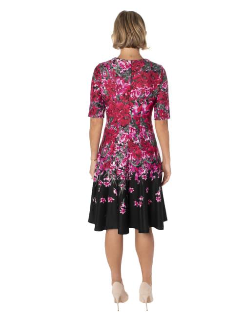 Floral Scuba A-Line Dress - Back