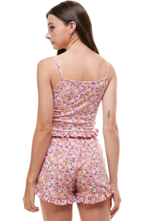 Floral Ditsy & Star Blushed Camisole Top & Short With Ruffle Lounge Set - Back