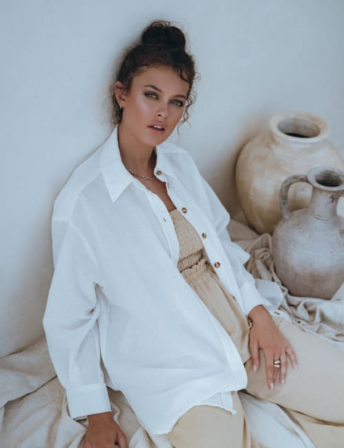 Romania Oversized Linen Shirt - Plus - Back