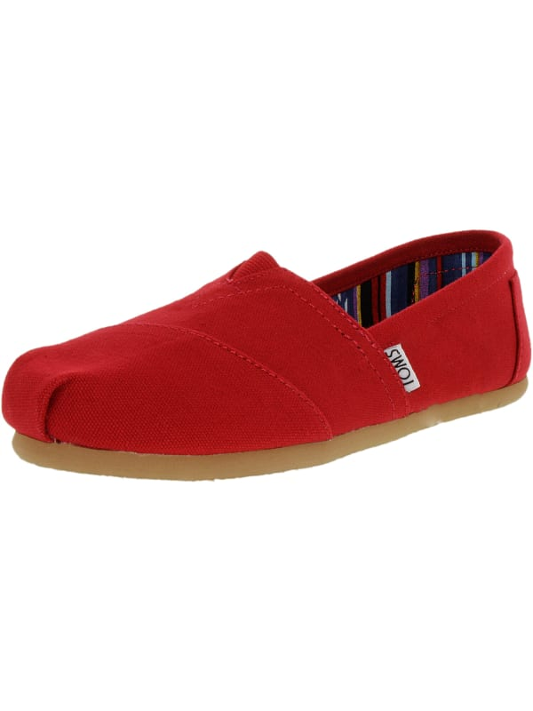 Toms Women's Classic Canvas Ankle-High Slip-On Shoes - Red Canvas