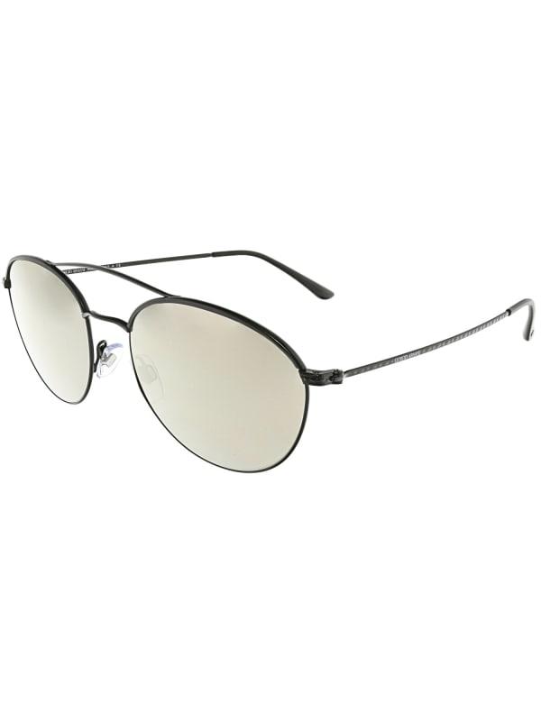 Giorgio Armani Women's Mirrored Black Oval Sunglasses - Black - Front