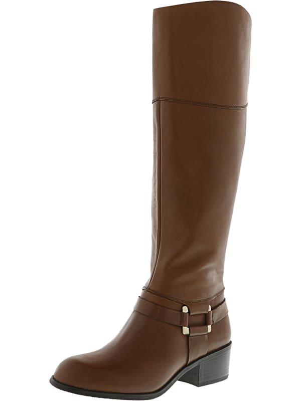Alfani Women's Biliee Knee-High Leather Equestrian - Cognac - Front