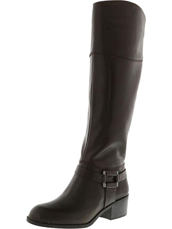 Alfani Women's Biliee Knee-High Leather Equestrian - Dark Roast - Front