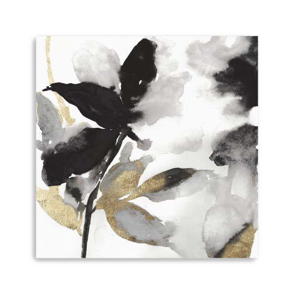 Black Petals Gold Leaves I Canvas Giclee