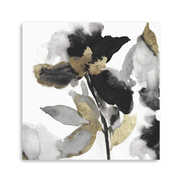 Black Petals Gold Leaves II Canvas Giclee