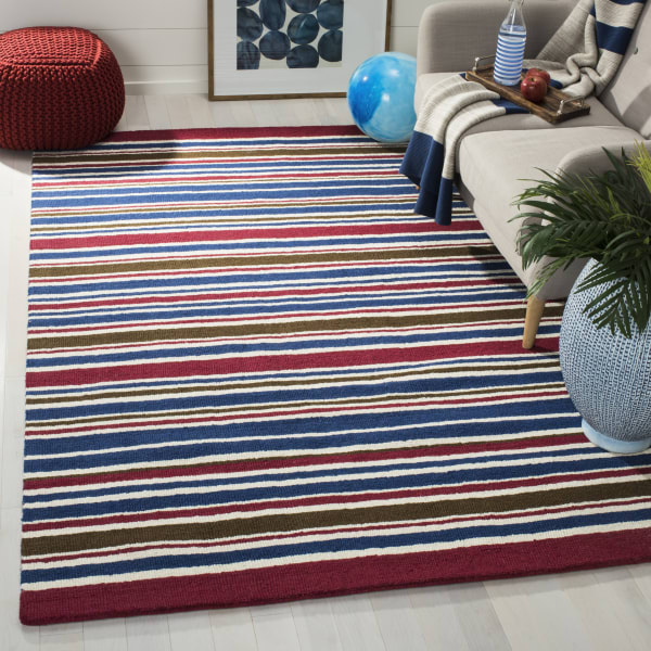 Safavieh Red & Blue Striped Rug