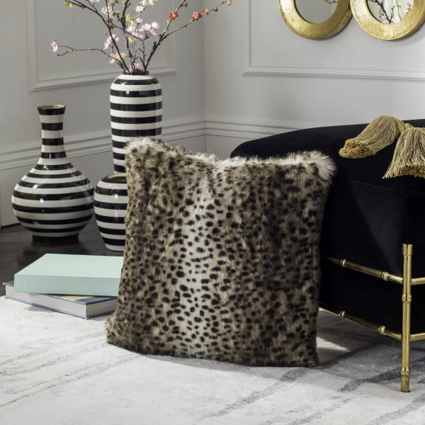 Safavieh Faux Fur Leopard Brown Pillow