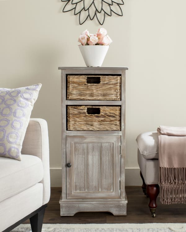 Safavieh Ezra Tan Storage Cabinet with Baskets