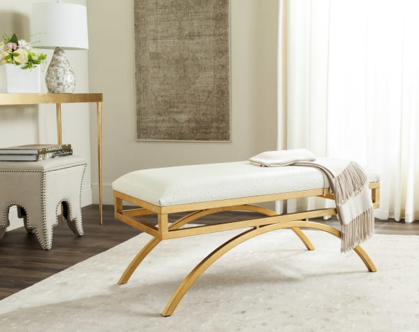 Safavieh Amelia Ivory Faux Leather Arch Bench