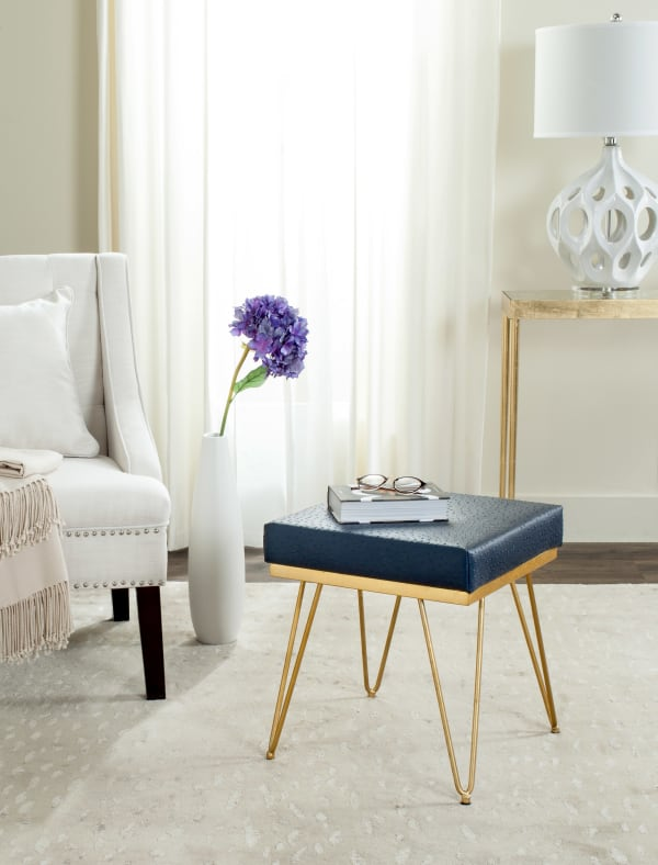 Safavieh Joan Navy Faux Ostrich Square Bench