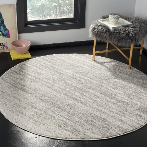 Round Gray Polypropylene Rug