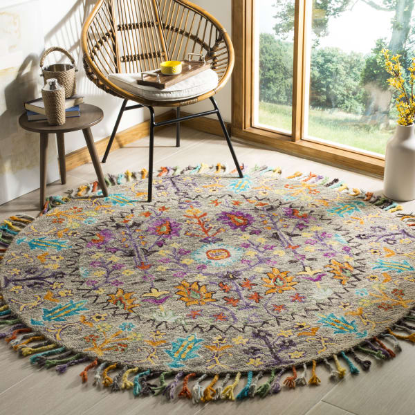 Safavieh Morgan 453 6' X 6' Round Gray Wool Rug