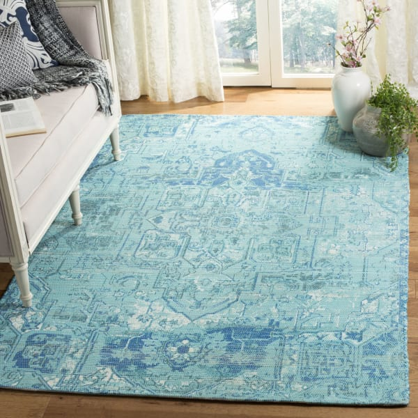 Blue Polyester Rug