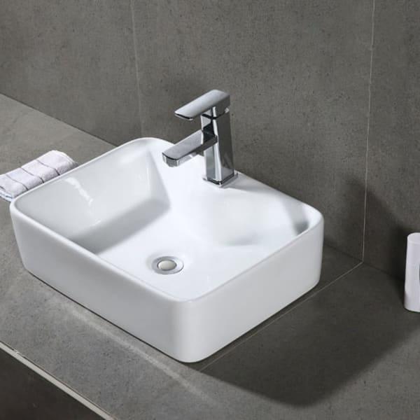 Fen White Porcelain Ceramic Bathroom Vessel Sink