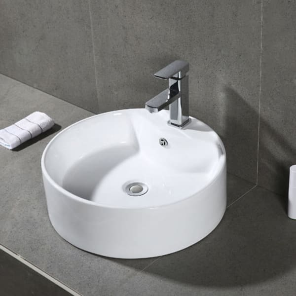 Mira White Porcelain Ceramic Bathroom Vessel Sink With Overflow Drain