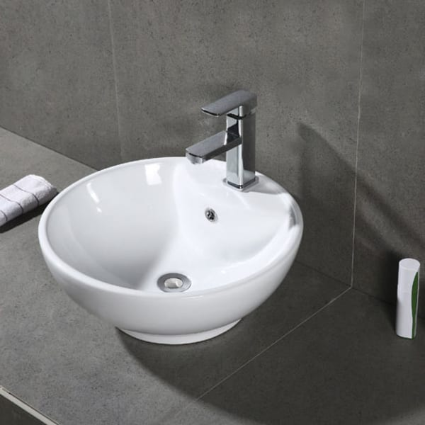 Kai White Porcelain Ceramic Bathroom Vessel Sink With Overflow Drain
