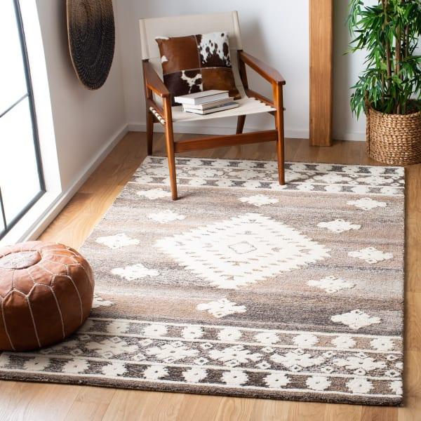 Vail Ivory & Brown Wool Rug