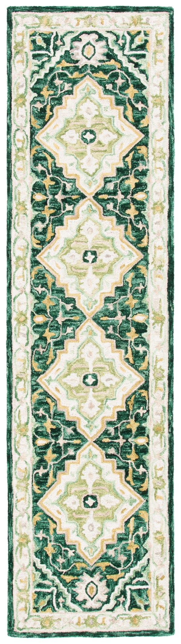 "Safavieh Vail 2'-3"" X 9' Green & Ivory Wool Rug"