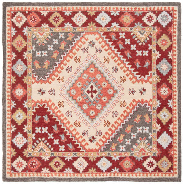 Vail 7' X 7' Square Red & Ivory Wool Rug
