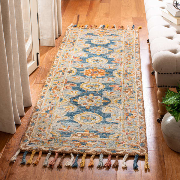 Vail  Gray & Blue Wool Rug