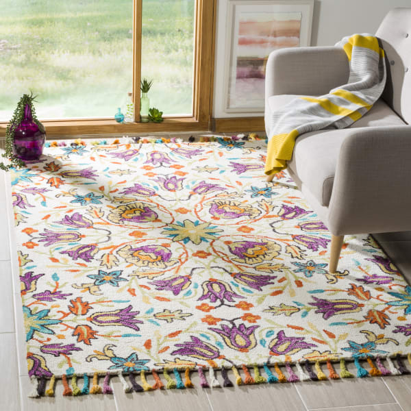 Safavieh Vail  Ivory & Purple Wool Rug
