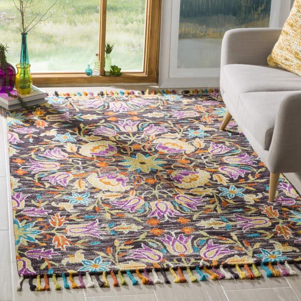 Vail  Black & Purple Wool Rug