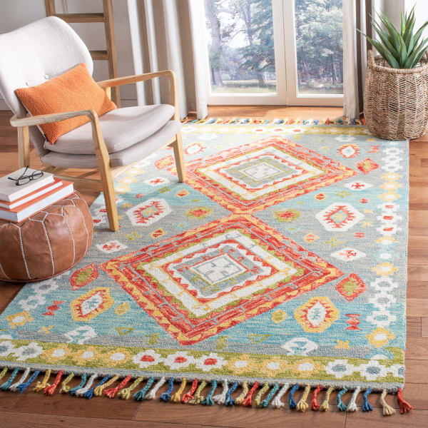 Vail Gray & Red Wool Rug
