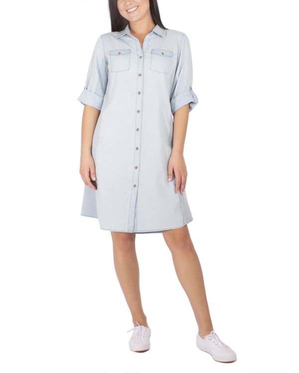 NY Collection 3/4 Sleeve Roll Tab Denim Dress With Rib Knit Insets