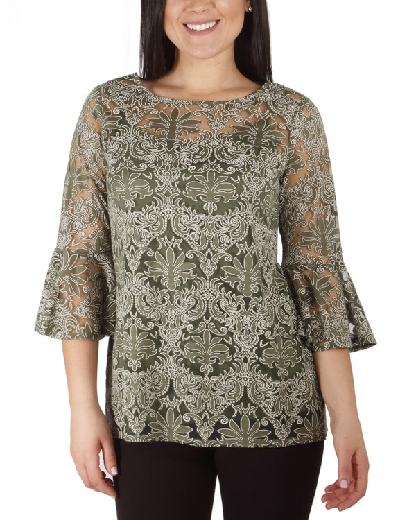 NY Collection Bell Sleeve Blouse And Solid Camisole