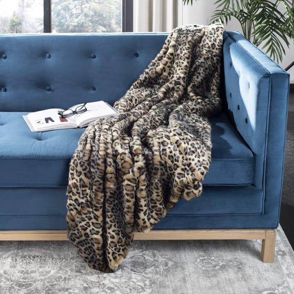 Safavieh Faux Black Leopard Throw