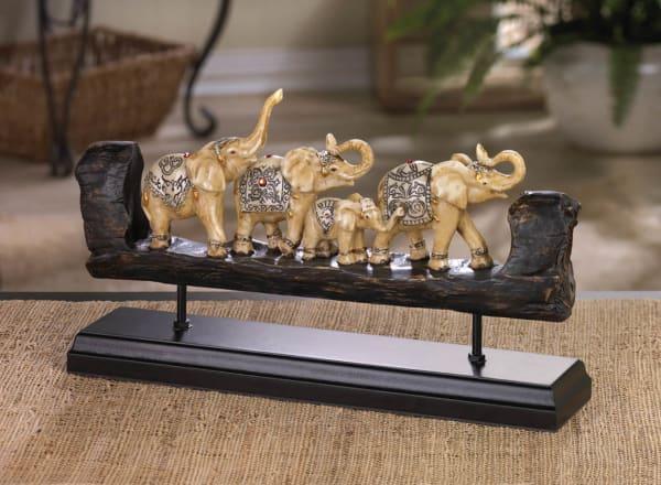 Elephant Family Carved Decor Figure