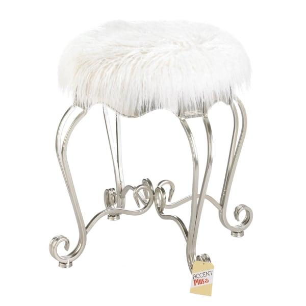 Fur Stool With Scroll Legs