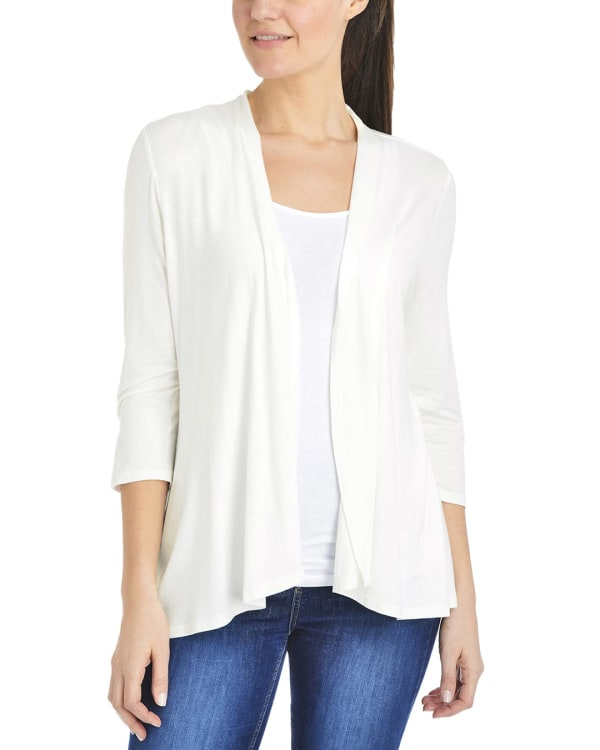 NY Collection 3/4 Sleeve Solid Cardigan
