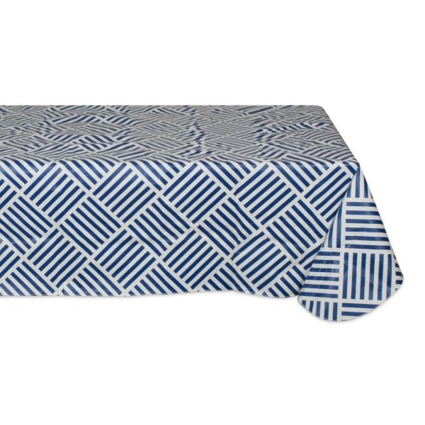 J&M Navy Grid Vinyl Tablecloth 60x84