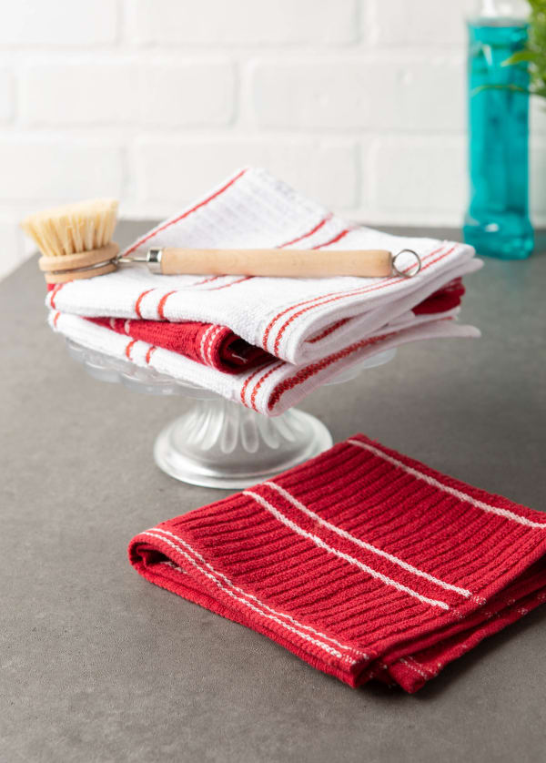 J&M Red Ribbed Terry Dishcloth (Set of 12)
