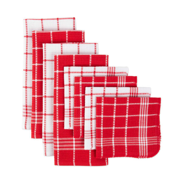 J&M Red Waffle Weave  Dishtowel & Dishcloth (Set of 8)
