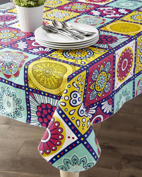 "Morocco Summer Vinyl Tablecloth 70"" Round"