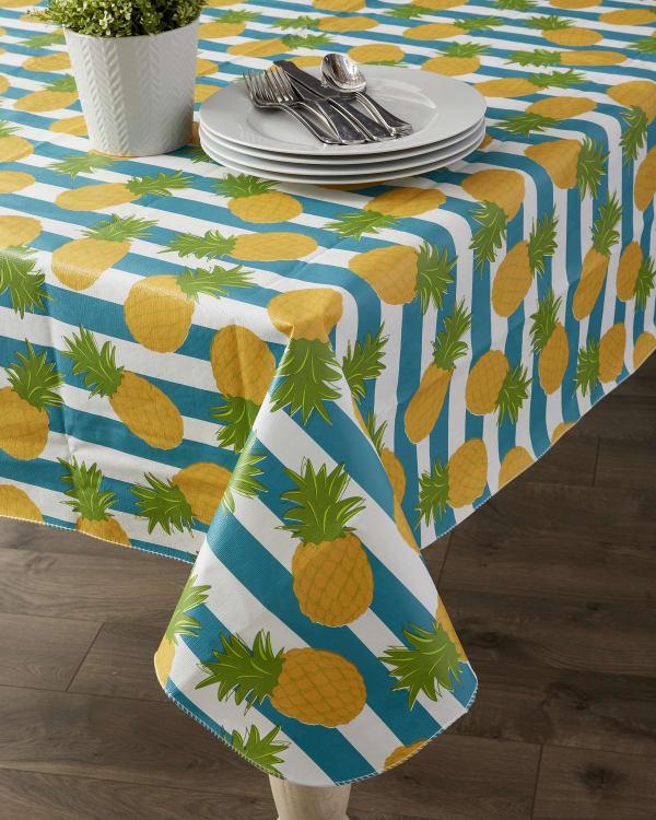 "Pineapple Vinyl Tablecloth 70"" Round"