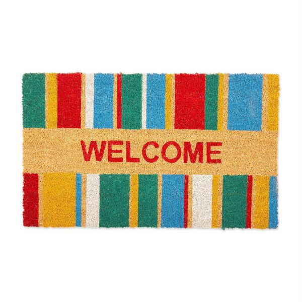 J&M Welcome Stripe Vinyl Back Coir Doormat 18x30