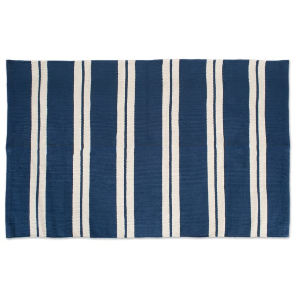 J&M Double Cabana Stripe Rug 30x48 Navy Blue