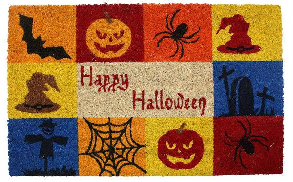 J&M Halloween Happy Halloween Vinyl Back Coir Doormat 18x30