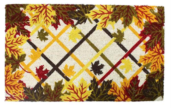 J&M Leaves and Lattice Vinyl Back Coir Doormat 18x30
