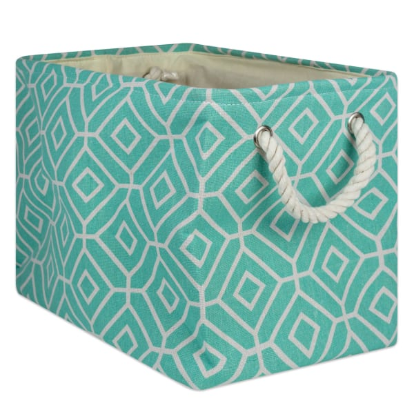 Polyester Storage Bin Stained Glass Aqua Rectangle Large 17.5x12x15