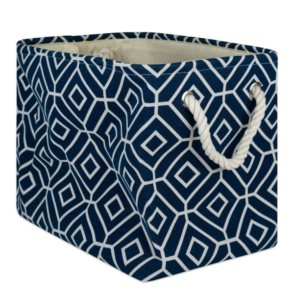 Polyester Storage Bin Stained Glass Navy Rectangle Large 17.5x12x15