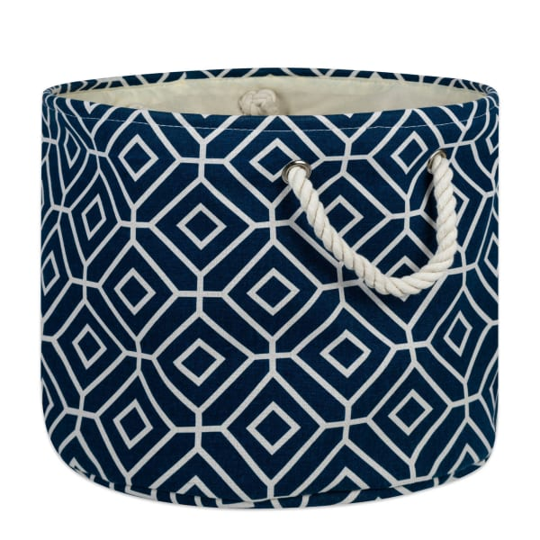 Polyester Storage Bin Stained Glass Navy Round Large 15x16x16